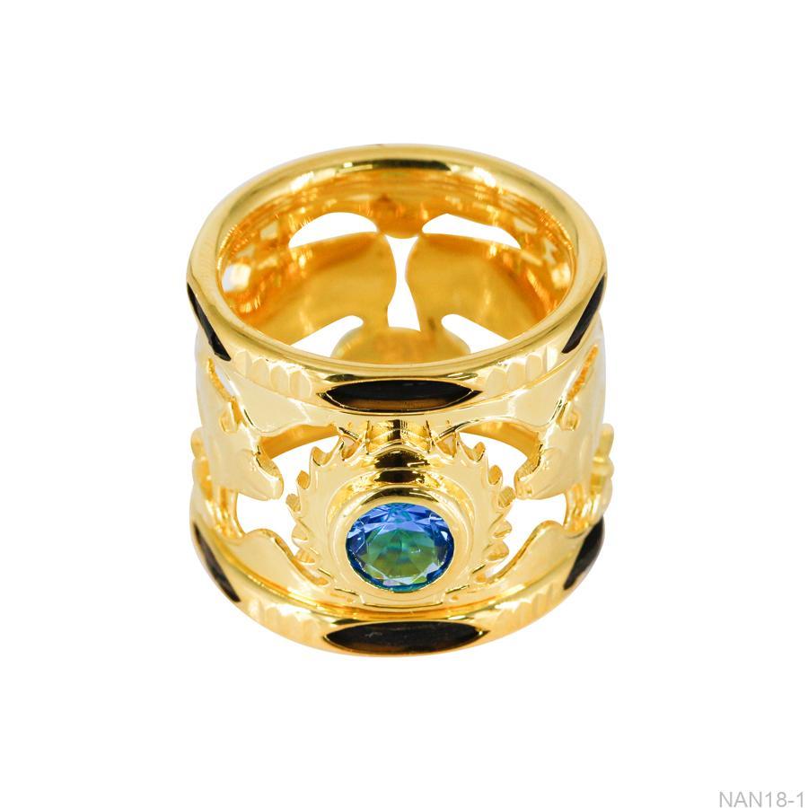 Nhẫn Nam Lông Voi Vàng Vàng 18K Đá Xanh Dương - NAN18-1