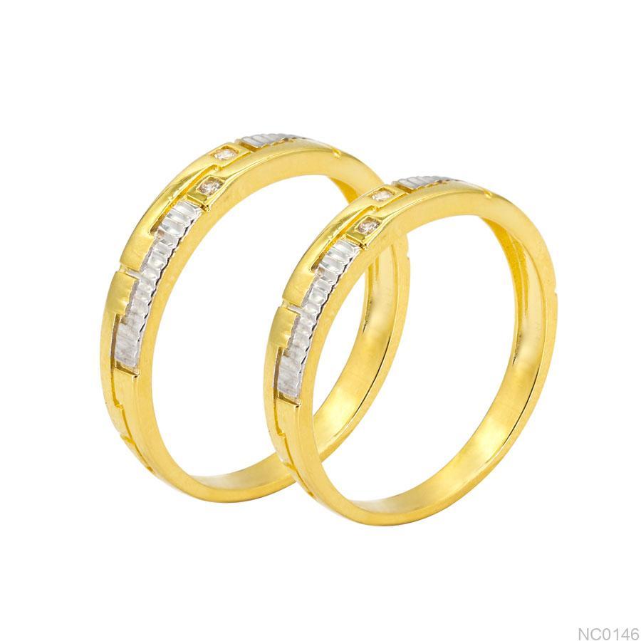 Nhẫn Cưới Hai Màu Vàng Vàng 18K - NC0146