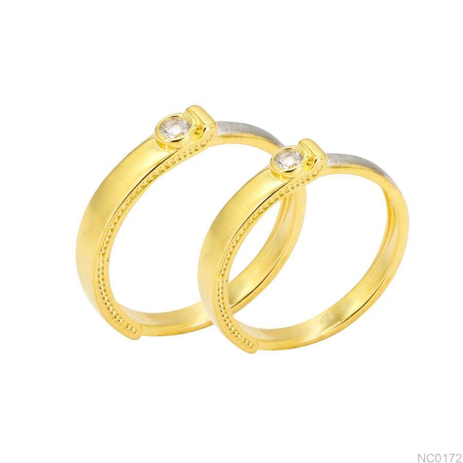 Nhẫn Cưới Hai Màu Vàng Vàng 18K - NC0172