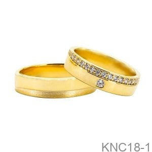 Nhẫn Cưới Vàng Vàng 18K - KNC18-1