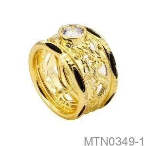 Nhẫn Nam Lông Voi Rồng Vàng Vàng 18K Đá Trắng - MTN0349-1