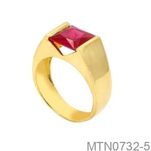 Nhẫn Nam Vàng Vàng 18K Đá Đỏ - MTN0732-5
