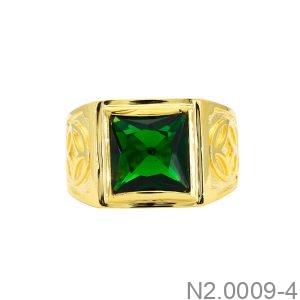 Nhẫn Nam Kim Tiền Vàng Vàng 18K Đá Xanh Lục - N2.0009-4