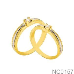 Nhẫn Cưới Hai Màu Vàng Vàng 18K- NC0157
