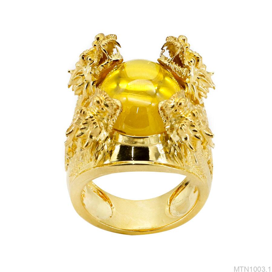 Nhẫn nam vàng vàng 18k đính đá