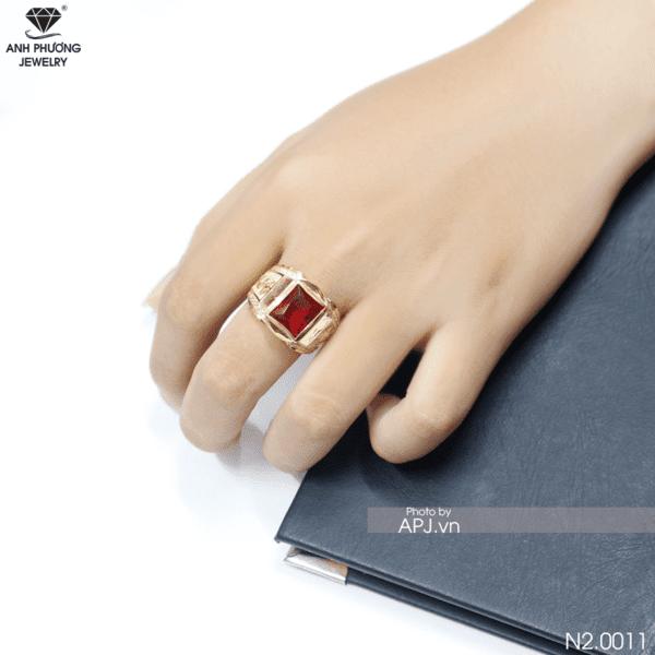 Nhẫn nam đá ruby đỏ