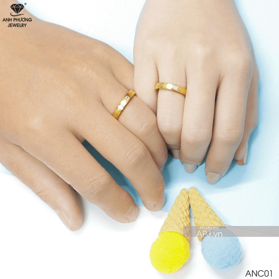 Nhẫn cưới vàng 17K ANC01