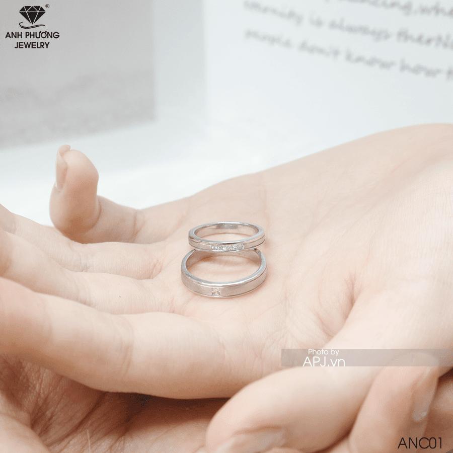 nhẫn cưới vàng trắng anc01