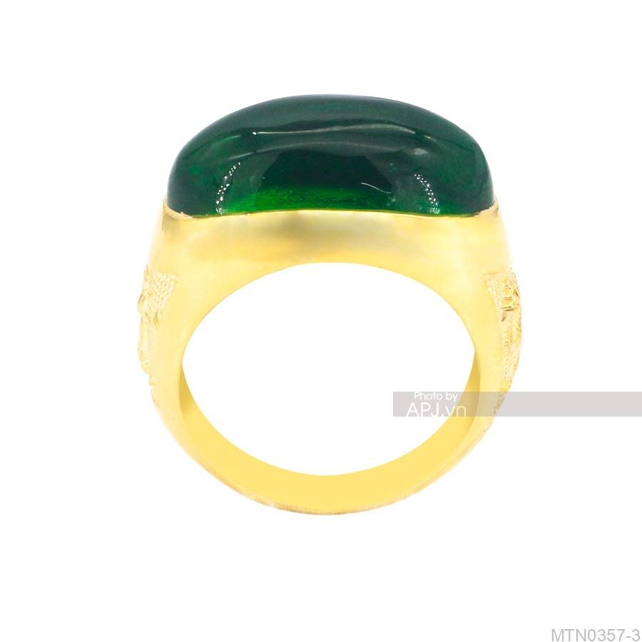 Nhẫn Nam Rồng Vàng Vàng 18K Đá Xanh Lục - MTN0357-3