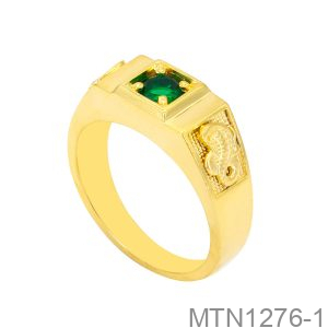 Nhẫn Nam Rắn Vàng Vàng 10K Đá Xanh Lục - MTN1276-1