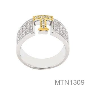 Nhẫn Nam Chữ T Vàng Trắng 10K - MTN1309