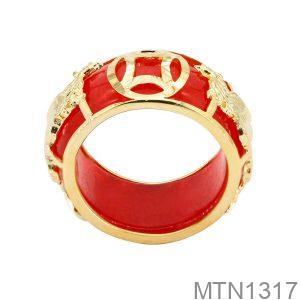 Nhẫn Nam Phượng Vàng Vàng 18K Đá Đỏ - MTN1317
