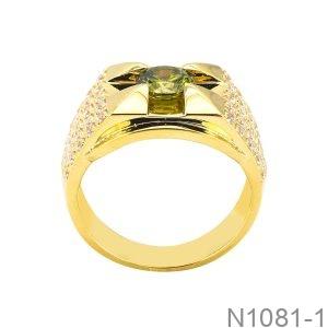 Nhẫn Nam Vàng Vàng 18K Đá Xanh Lục - N1081-1