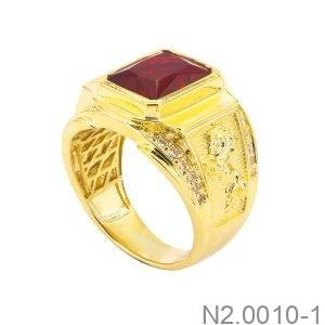 Nhẫn Nam Ngựa Vàng Vàng 18K Đá Đỏ - N2.0010-1