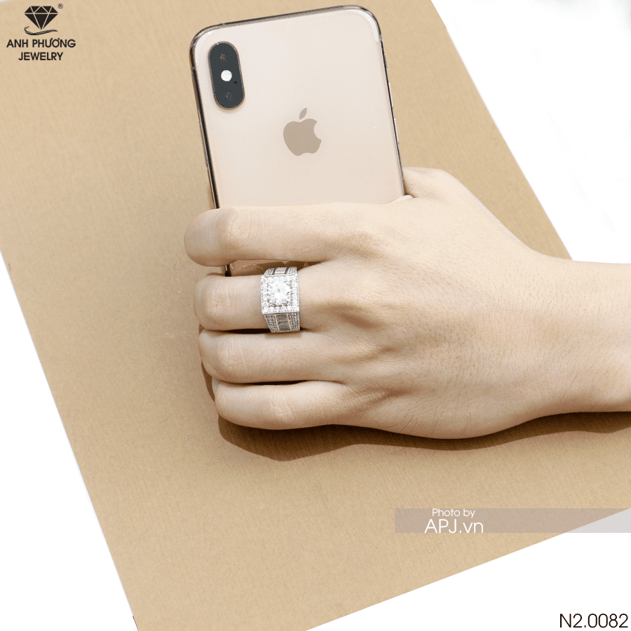 Nhẫn nam vàng trắng 10k N2.0082