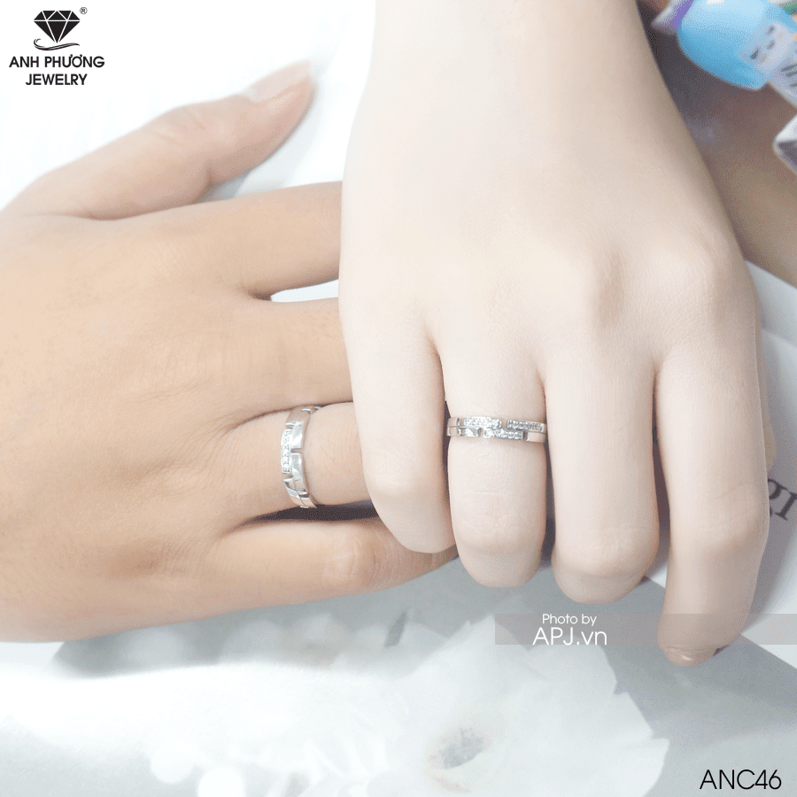 nhẫn cưới vàng trắng 10k đính đá cz ANC46