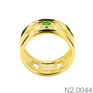 Nhẫn Nam Lông Voi Vàng Vàng 18K Đá Xanh Lục - N2.0044