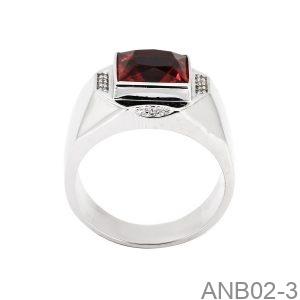 Nhẫn Nam Vàng Trắng 10K Đá Đỏ - ANB02-3