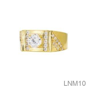 Nhẫn Nam Vàng Vàng 18K Đá Trắng- LNM10