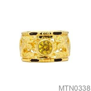 Nhẫn Nam Lông Voi Vàng Vàng 18K Đá Vàng - MTN0338