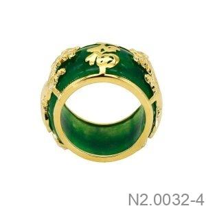 Nhẫn Nam Rồng Vàng Vàng 18K Đá Xanh Lục - N2.0032-4