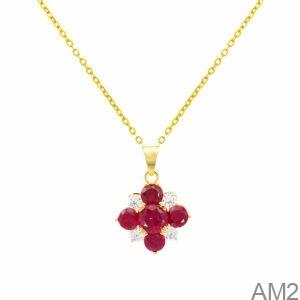 Mặt Nữ Vàng Vàng 10K Đá Đỏ - AM2