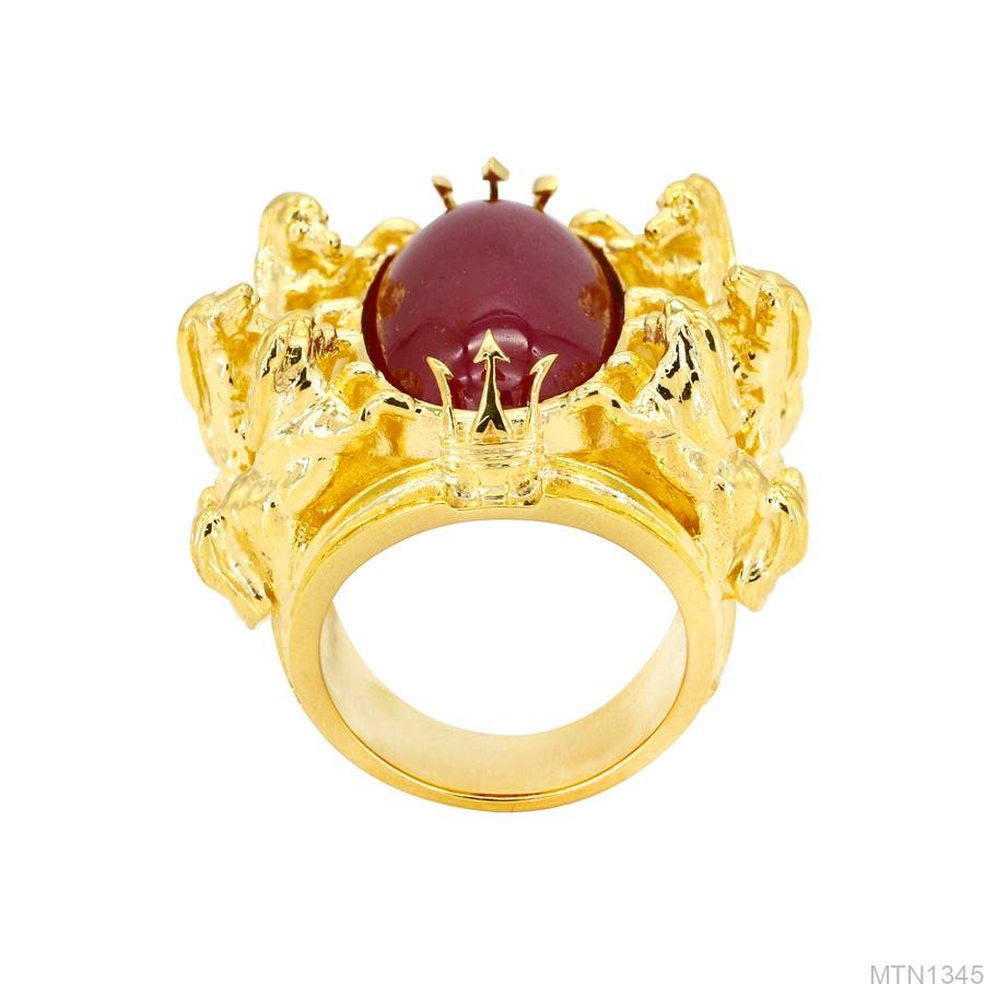Nhẫn Nam Ngựa Vàng Vàng 18K Đá Đỏ - MTN1345