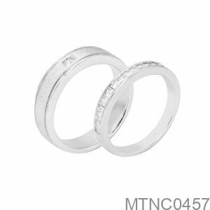 Nhẫn Cưới Vàng Trắng 18K - MTNC0457