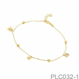 Lắc Chân Vàng Vàng 18K - PLC032-1