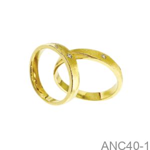 Nhẫn Cưới Vàng Vàng 18K - ANC40-1