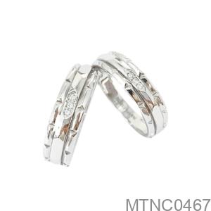 Nhẫn Cưới Vàng Trắng 18K - MTNC0467